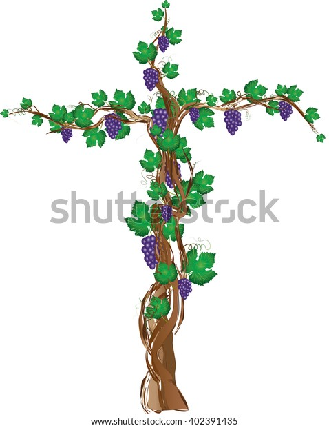 Floral Grapevine Cross Grape Clusters On Stock Vector Royalty