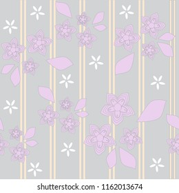 Floral Gray Pink Stripes Seamless Background Pattern