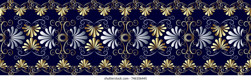 Floral grecian seamless border pattern. Blue vector geometric background. Abstract flourish wallpaper. Hand drawn gold 3d flowers, swirl leaves, shapes, figures, lines, meander, greek key  ornaments
