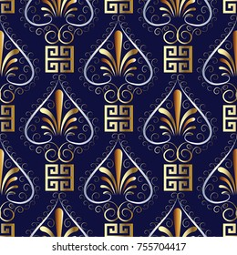 Floral greek key meander seamless pattern. Dark blue vector background wallpaper illustration with vintage gold 3d hand drawn flowers, love hearts, square, shapes, and grecian ornament.Endless texture