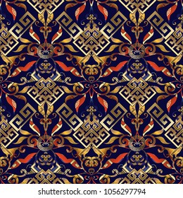 Floral greek key seamless pattern. Vector abstract geometric bright  background.  Vintage flowers, swirls, leaves, lines, circles, shapes, figures, gold meander ornaments. Patterned ornate 3d texture.
