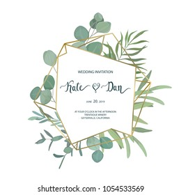Floral greenery card template with eucalyptus branch. For wedding invitation, save the date, birthday, Easter. Vector illustration. Watercolor style