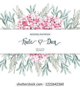 Floral greenery card template with eucalyptus branch and hortensia. For wedding invitation, save the date, birthday, Easter. Vector illustration
