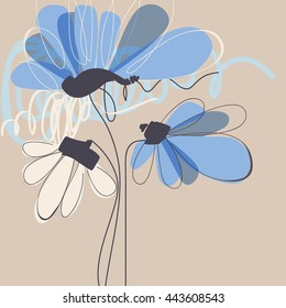 Floral greeting card. Birthday flowers