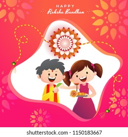 Floral greeting card design with illustration of happy brother and sister celebrating Raksha Bandhan festival.