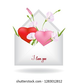 Floral greeting card design,template for wedding invitation,birthday greetings.Branch of pink bindweed,fresh green grass and two red heart inside a simple white envelope.Valentines day. Vector