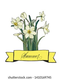Floral greeting card or invitation.  Summer  hand written in copperplate script