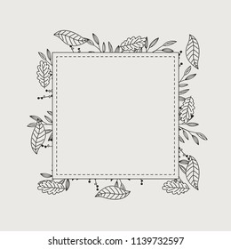 Floral greeting card and invitation template for wedding or birthday anniversary, Vector text box and frame, Tropical flowers style with branch and leaves.