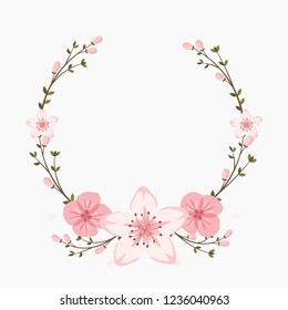Floral greeting card and invitation template for wedding or birthday anniversary, Vector circle shape of text box label and frame, Sakura flowers wreath ivy style with branch and leaves.
