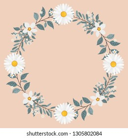 Floral greeting card and invitation template for wedding or birthday anniversary, Vector circle shape of text box label and frame, Chamomile flowers wreath ivy style with branch and leaves.