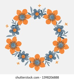 Floral greeting card and invitation template for wedding or birthday anniversary, Vector circle shape of text box label and frame, Orange flowers wreath ivy style with branch and leaves.