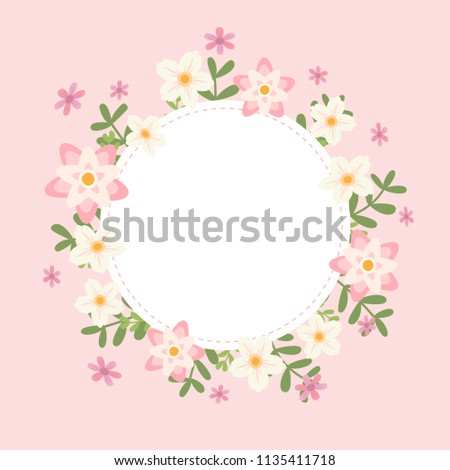 Floral Greeting Card And Invitation Template Text Box Frame Pink Flowers Style With