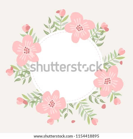 Floral Greeting Card And Invitation Template For Wedding Or Birthday Anniversary Vector Text Box Label