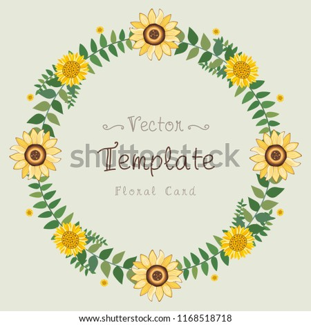 Floral Greeting Card And Invitation Template For Wedding Or Birthday Anniversary Vector Circle Shape Of
