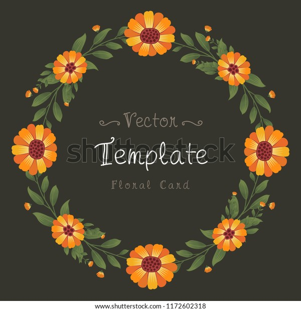 Floral Greeting Card Invitation Template Wedding Stock