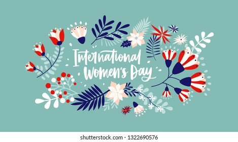 Floral greeting card on blue background with International Women's Day lettering handwritten with cursive font by blooming spring flowers and leaves. Flat festive vector illustration for 8 march.