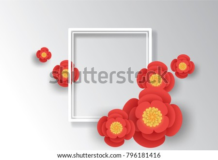 Floral Greeting Card Origami Flower Holiday Vector Stock Vector