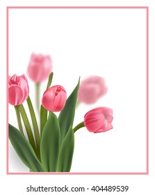 Floral greeting card  with  pink tulips, with space for your text. Template Vector.