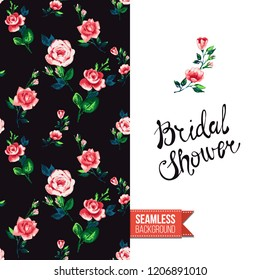 Floral greeting card with roses. Red hand drawn watercolor style flowers on black background and inscription: bridal shower. Vector template for flyer, invitation or postcard.