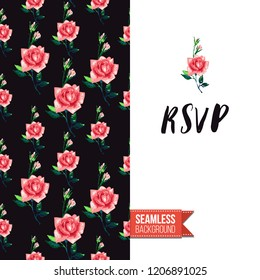 Floral greeting card with roses. Red hand drawn watercolor style flowers on black background and inscription: rsvp. Vector template for flyer, invitation or postcard.