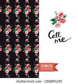 Floral greeting card with roses. Red hand drawn watercolor style flowers on black background and inscription: call me. Vector template for flyer, invitation or postcard.