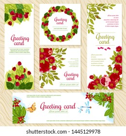 Floral Greeting Card template for flower shops or anniversary invitation wedding party cards. Vector beautiful oriental floral pattern and bright ornament. Different flowers and flowers, cherry