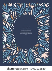 Floral greeting card vector template. Frame with hand drawn leaves and flowers illustrations. Vintage border for text. Wedding invitation, holiday poster, article scandinavian style design idea