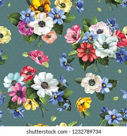Floral greeting seamless pattern with beautiful bouquet blossoming spring anemones. Elegant template with flowers. Illustration for print or background in watercolor style