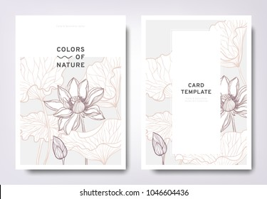 Floral greeting/invitation card template design, hand drawn lotus flowers with leaves, minimalist pastel style