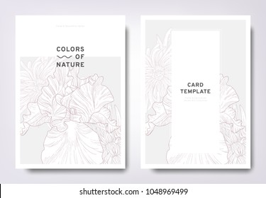 Floral greeting/invitation card template design, hand drawn Iris and Petite Jenny flowers, minimalist pastel style