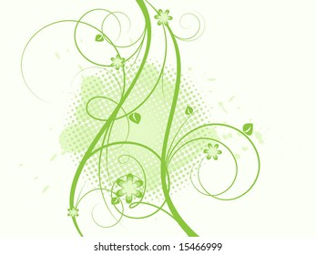 floral grungy abstract vector, elements for design.