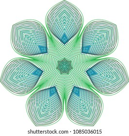 Floral guilloche rosette with fluted petals amid a green and blue color palette.