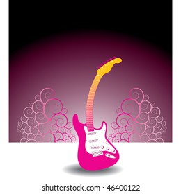 Floral, guitar, vector musical background