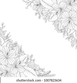 Floral hand drawn invitation card