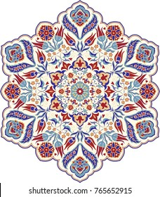 Floral, hand drawn Mandala. Turkish motif. Round colorful floral ornament in traditional Oriental pattern. Isolated decorative element for card design, t-shirt print, ceramic tile.