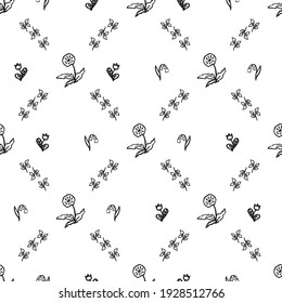 Floral hand drawn pattern. Vector black and white illustration.
