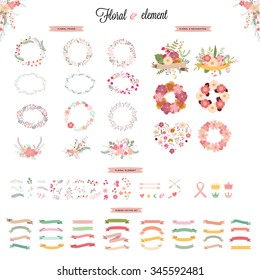 Floral hand drawn vector set. Vector illustration.