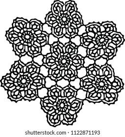 Floral handmade ornament mandala. Old Slavic style.