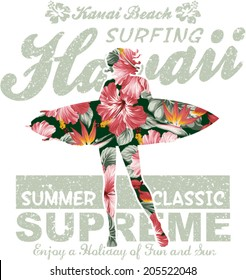 Floral Hawaii surfing, vector artwork for girl summer t shirt, grunge effect in separate layer