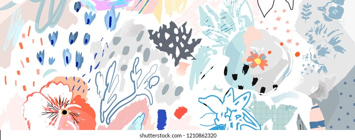 Floral header. Trendy Graphic Design. Abstract art