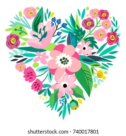Floral heart. Lovely vector template.