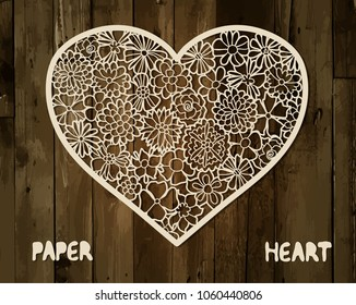 Floral heart. Paper or laser cutting template.