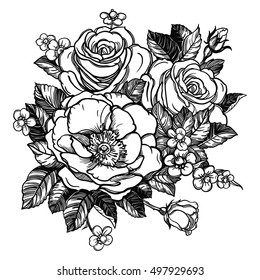 Floral highly detailed hand drawn rose flower stem with roses and leaves. Vintage Victorian Motif, tattoo design element. Bouquet concept art. Isolated vector illustration in line art style.