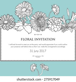 Floral horizontal invitation card. White and black vector illustration of blooming gerbera, dahlia and lily. For design wedding, birthday, invitation, card, template, print etc.