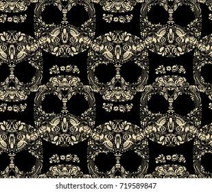 Floral human skull seamless pattern vector. Decorative beautiful design. Bird accents