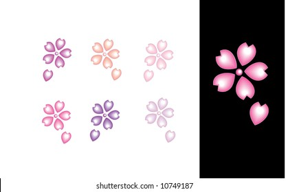 Floral icons, cherry blossom icons (vector)
