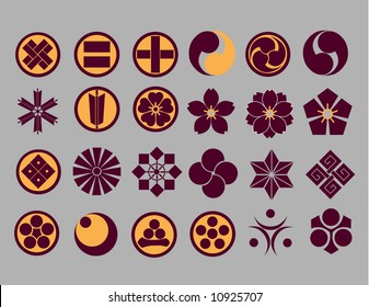 Floral icons & Japanese Family Crest icons part2 (vector)