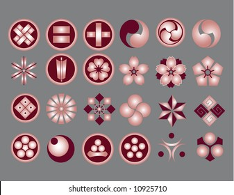 Floral icons & Japanese Family Crest icons part3 (vector)