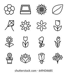 Floral icons set. set of 16 floral outline icons such as sunflower, flower, leaf, flower pot, rose, heart flower, square plant pot, tulip, bouquet