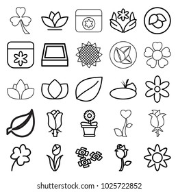 Floral icons. set of 25 editable outline floral icons such as leaf, lotus, flower, clover, flower pot, rose, pond, square plant pot, sunflower
